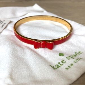Kate Spade Red Gold Ribbon Bow Bangle